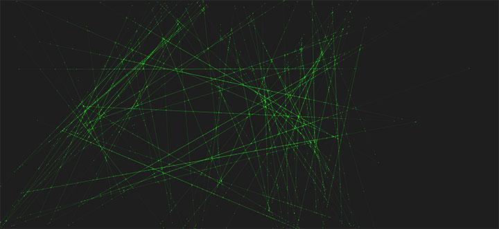 HTML5 Canvas绘制绿色激光射线动画特效