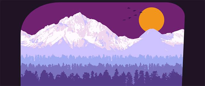 HTML5 SVG雪山树林日落动画场景特效