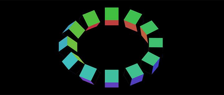 html5 canvas 3D方块环形动画特效