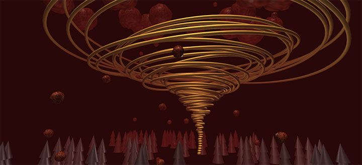 html5基于three酷炫3D龙卷风动画场景殊效