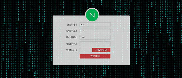 酷炫代码雨背景动画用户注册表单代码