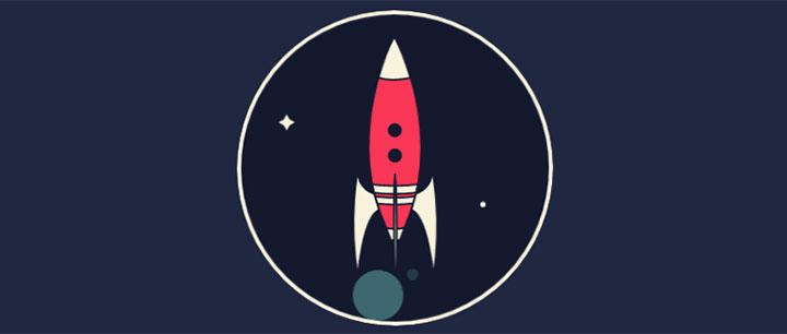 css3 svg卡通火箭发射升空动画特效
