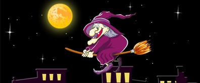 矢量夜晚月亮巫婆骑扫帚