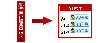 居于网页右侧的红色调在线客服代码