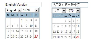 中英文日期选择器