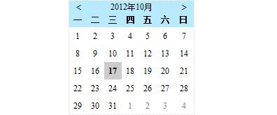 js 简易的日历控件