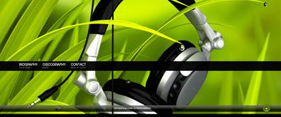 一套黑绿色全屏音乐背景的flash全站模板