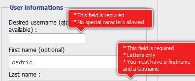 js注册表单错误输入框红色圆角提示效果