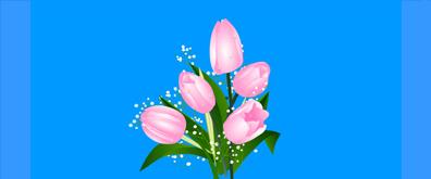 左右摇摆带露珠的鲜花flash素材
