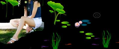 美女看着河边嬉戏的鱼儿flash素材