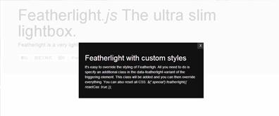 轻量级多种弹出窗口方法——Featherlight.js